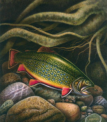 Lake Painting - Brook Trout Lair by JQ Licensing