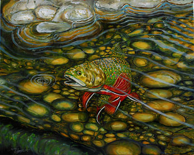 Painting - Brook Trout by Steve Ozment