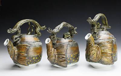 Ceramic Art - Brook Trout Teapots by Mark Chuck