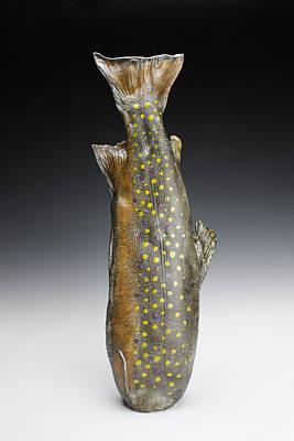 Ceramic Art - Brook Trout Vessel by Mark Chuck