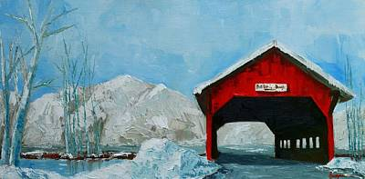 Winter Scenes Painting - Brookdale Bridge Vermont Stowe Winter Scene by Patricia Awapara