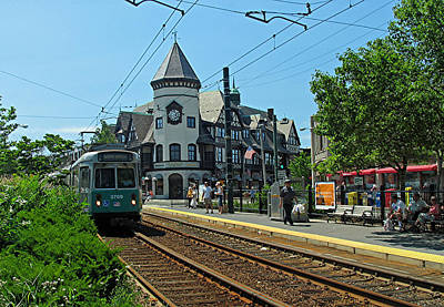 Travel Pics Royalty-Free and Rights-Managed Images - Brookline Coolidge Corner Pierce Building by Juergen Roth
