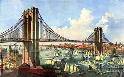 1874 Photograph - Brooklyn Bridge 1874 by Padre Art