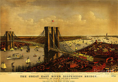 Old Map Painting - Brooklyn Bridge 1885 by Celestial Images