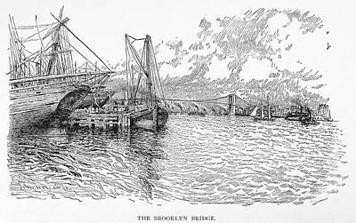 Brooklyn Bridge Drawing - Brooklyn Bridge, 1895 by Granger