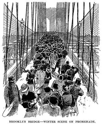 Brooklyn Bridge Drawing - Brooklyn Bridge, 1898 by Granger