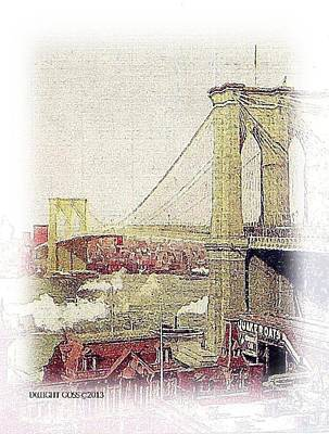 Painting - Brooklyn Bridge 1910 by Dwight Goss