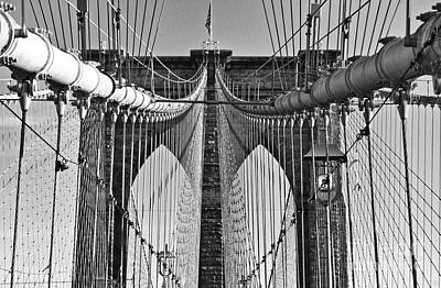 Photograph - Brooklyn Bridge 2 Black And White by Steve Purnell