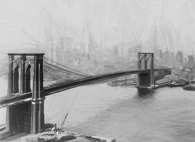 Brooklyn Bridge Mixed Media - Brooklyn Bridge 2 by Steve K