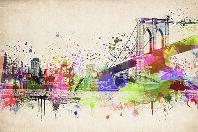 Central Park Mixed Media - Brooklyn Bridge by Aged Pixel