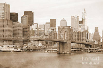 Photograph - Brooklyn Bridge And Manhattan Vintage by RicardMN Photography