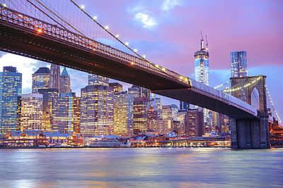 Sunset Landscape Wall Art - Photograph - Brooklyn Bridge And New York City Skyscrapers by Vivienne Gucwa