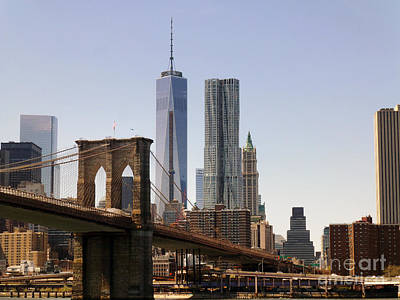 Photograph - Brooklyn Bridge And One Wtc by Steven Spak