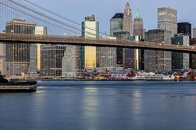 Pier 17 Digital Art - Brooklyn Bridge And The South Street Seaport by Keith Yates
