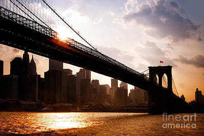 Brooklyn Bridge And Skyline Manhattan New York City Art Print