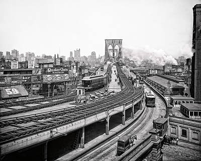 Brooklyn Bridge And Terminal - 1903 Art Print