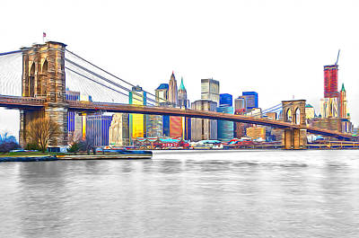 Pier 17 Digital Art - Brooklyn Bridge And The South Street Seaport II by Keith Yates