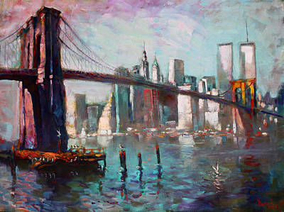 Seagulls Painting - Brooklyn Bridge And Twin Towers by Ylli Haruni