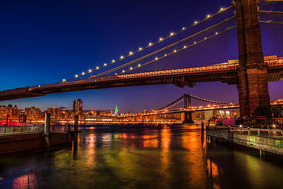Art Print featuring the photograph Brooklyn Bridge At Night by Chris McKenna