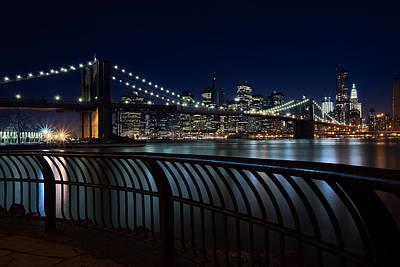 South Street Seaport Photograph - Brooklyn Bridge At Night by David Smith