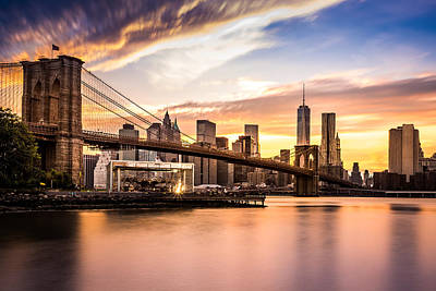 Brooklyn Bridge At Sunset  Art Print