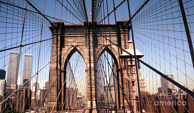 Print featuring the photograph Brooklyn Bridge Before 9/11/01 by Steven Spak
