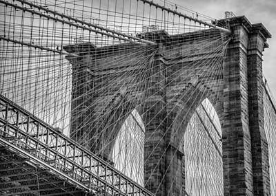Photograph - Brooklyn Bridge Black And White by Chris McKenna