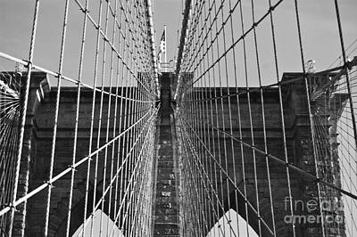 Photograph - Brooklyn Bridge Black And White by Steve Purnell