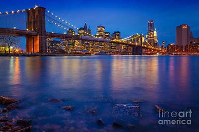 Brooklyn Bridge By Night Art Print by Inge Johnsson