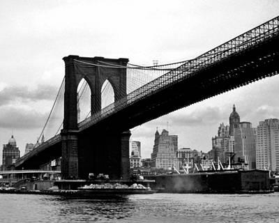 Skyline Photograph - Brooklyn Bridge Circa 1955 by David Lobos