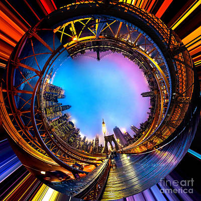 Skyline Photograph - Brooklyn Bridge Circagraph 3 by Az Jackson