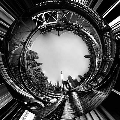 Circular Photograph - Brooklyn Bridge Circagraph 4 by Az Jackson