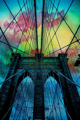Brooklyn Bridge Digital Art - Psychedelic Skies by Az Jackson