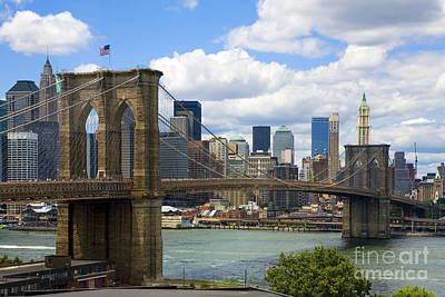 New York City Skyline Photograph - Brooklyn Bridge by Diane Diederich