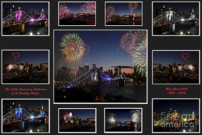 Photograph - Brooklyn Bridge Fireworks Collage by Steven Spak