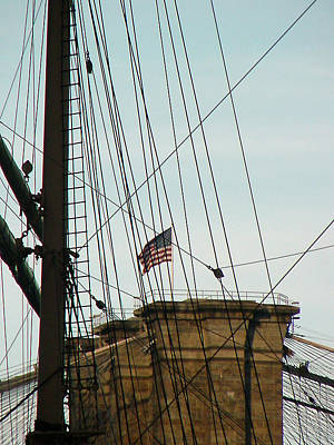 Photograph - Brooklyn Bridge Flag by Mieczyslaw Rudek