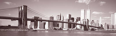 Twin Towers Nyc Photograph - Brooklyn Bridge, Hudson River, Nyc, New by Panoramic Images