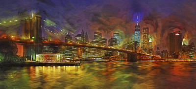 Digital Art - Brooklyn Bridge Impressionism by Susan Candelario