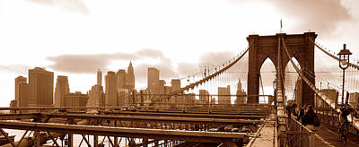 Photograph - Brooklyn Bridge In Sepia by Paul Van Baardwijk