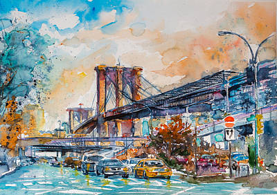 Brooklyn Bridge Painting - Brooklyn Bridge by Kovacs Anna Brigitta