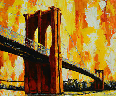 Painting - Brooklyn Bridge Landmark by Patricia Awapara