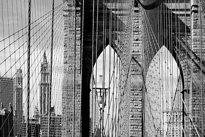 Black And White Photograph - Brooklyn Bridge New York City Usa by Sabine Jacobs
