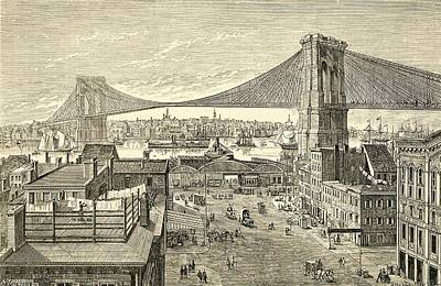 Architecture Drawing - Brooklyn Bridge, New York, United States Of America In The 19th Century by American School