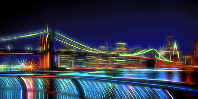 Photograph - Brooklyn Bridge Neon Panoramic by David Smith