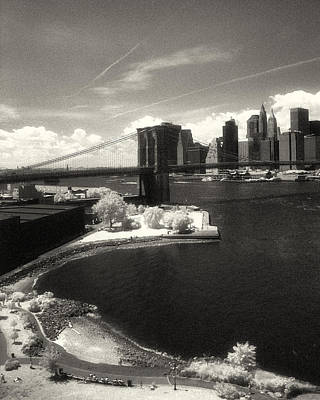 Photograph - Brooklyn Bridge Park Ir Sepia by Dave Beckerman