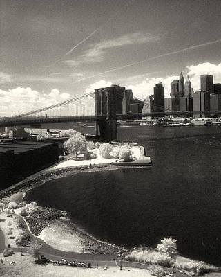 1920s Flapper Girl - Brooklyn Bridge Park IR Sepia by Dave Beckerman
