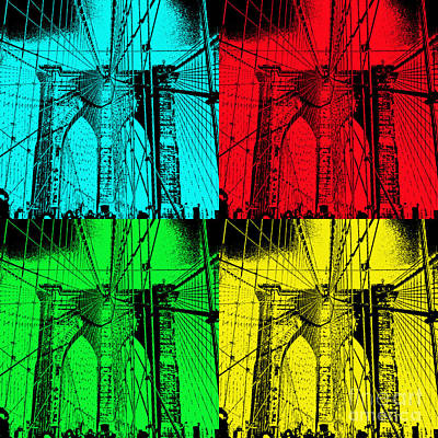 Photograph - Brooklyn Bridge Pop Art by Kerri Farley