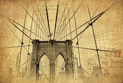 Photograph - Brooklyn Bridge Postcard by Jessica Jenney