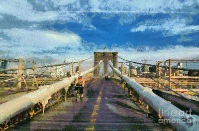 Painting - Brooklyn Bridge Promenade by George Atsametakis