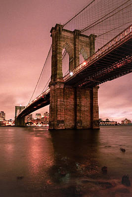 Photograph - Brooklyn Bridge - Red Morning by Gary Heller